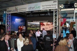 The Etherlive stand near the entrance saw a steady stream of visitors